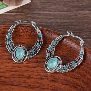 3️⃣@$30 Tibetan Silver Turquoise Hoop Earrings